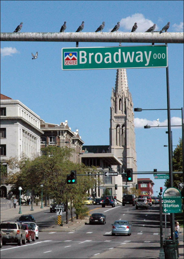 Colfax and Broadway with the Cathedral Basilica of the Immaculate Conception